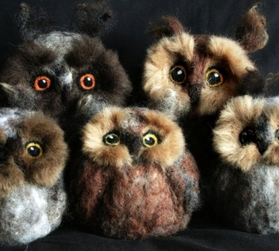 A family of Owls in Needle Felt