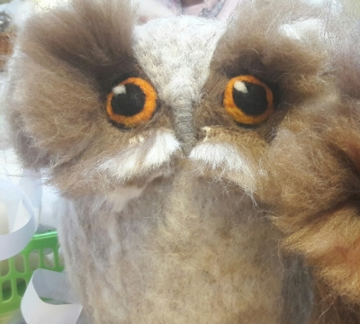 Wise Owls in needle felt with Annis McGowan