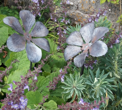 Blacksmith For a Day - Two Sculptural Garden Flowers